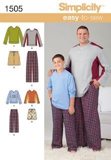 1505 Simplicity Pattern: Husky Boys' & Big & Tall Men's Tops and Pull-on Trousers